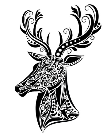antlers silhouette: Pattern in a shape of a deer. Illustration