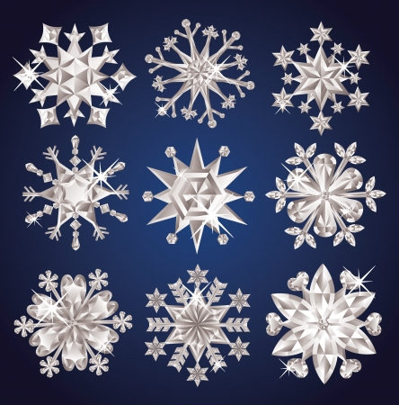 Set of diamond snowflakes. Stock Vector - 16256267