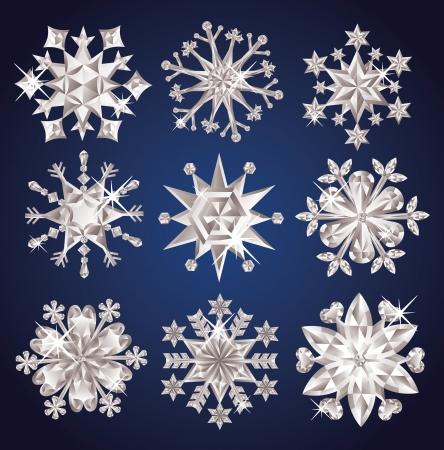 Set of diamond snowflakes. Stock Vector - 16256267