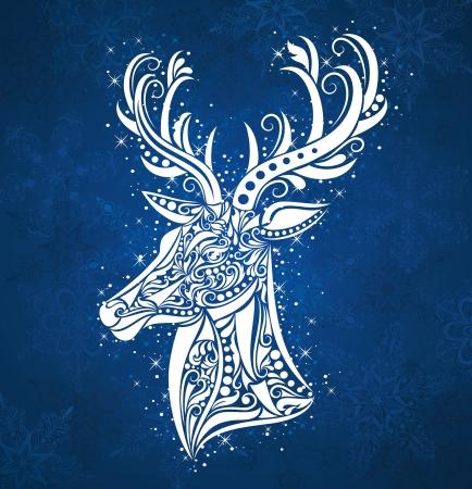 deer in heart: Pattern in a shape of a deer on the blue background. Illustration