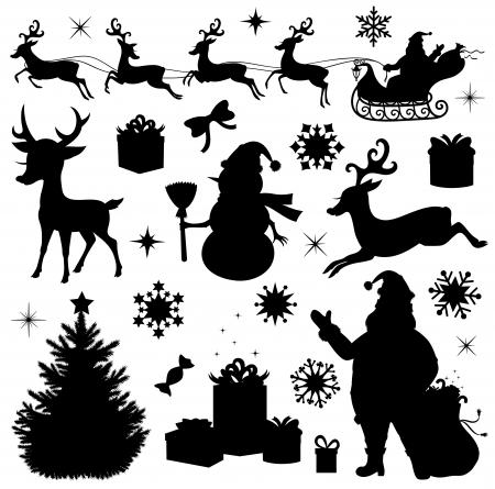 papa noel en trineo: Colección de siluetas de Navidad Vectores