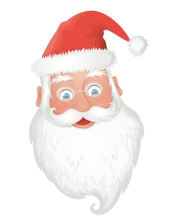 old man beard: Santa s head on the white background
