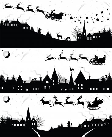 papa noel en trineo: Conjunto de siluetas de Navidad.