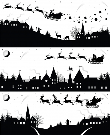 winter tree silhouette: Set of christmas silhouettes. Illustration