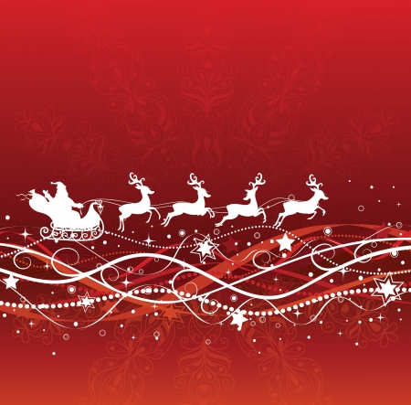 Silhouette of a santa on a sledge harnessed by magic deers flying on the red background.  Vector