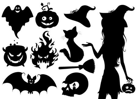silueta de gato: Conjunto de iconos de Halloween. Vectores