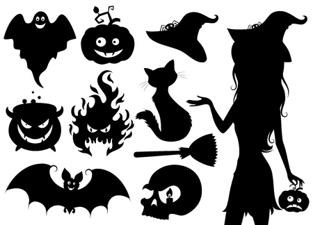 witch face: Set of halloween icons. Illustration