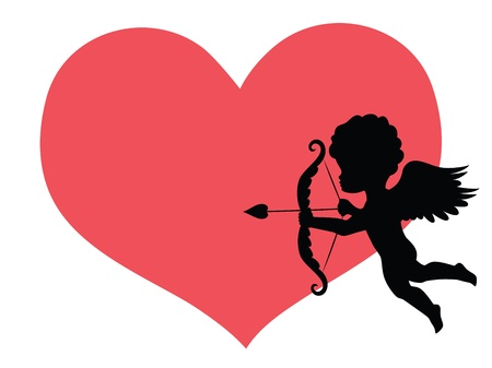 first love: Silhouette of a cupid and a big red heart on the background.