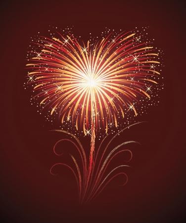 赤の背景にハートの形の花火。  イラスト・ベクター素材