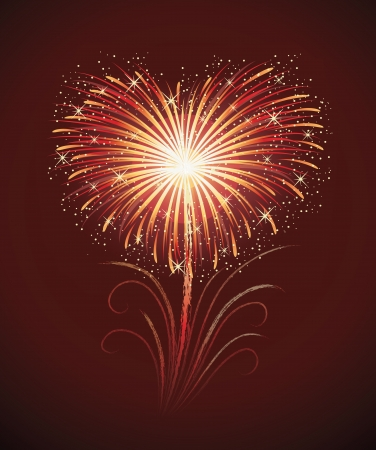Firework in a shape of heart on the red background. Illustration