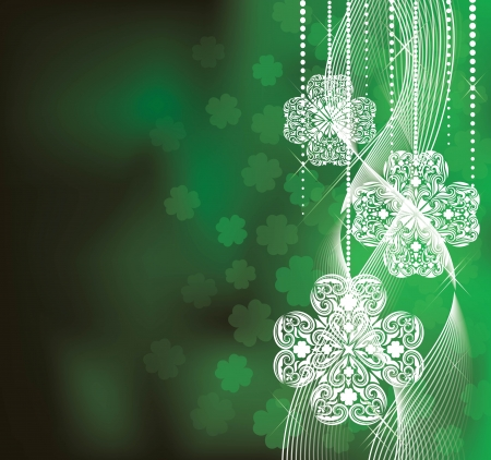 St  Patrick s Day  background in green colors with clovers  Vector