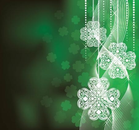 keltische muster: St Patrick s Day Hintergrund in grünen Farben mit Klee