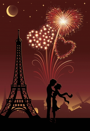 Silhouette of a couple in Paris  Firework in a shape of heart on the red background   Illustration