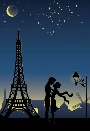 romantic getaway: Silhouette of a couple in Paris  Stars in a shape of heart in the sky  Illustration