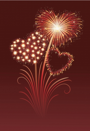 Firework in a shape of heart on the red background  Illustration