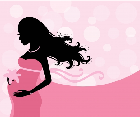 Silhouette of a pregnant woman.  Illustration