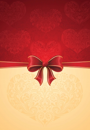 Greeting card with red bow and hearts   Stock Vector - 17375439