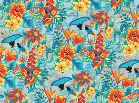 Seamless tropical pattern with birds. Vector