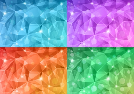 Set of abstract crystal backgrounds. Vector
