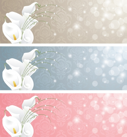 Wedding banners with calla lilies  Vector