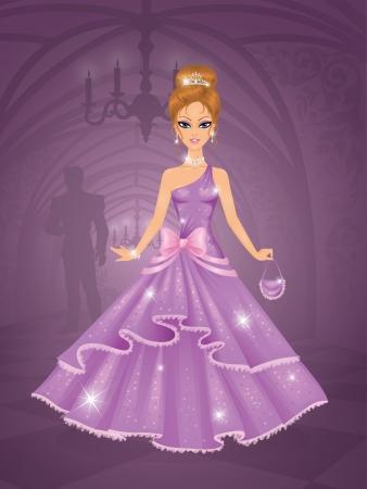 Niedliche Prinzessin im Schloss warten auf den Prinzen