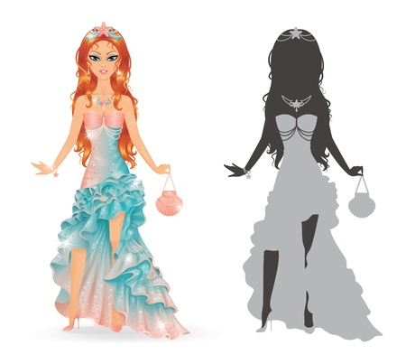 Cute princess wearing mermaid dress  Vector
