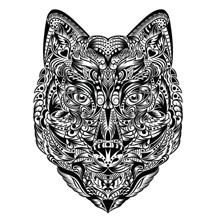 Pattern in a shape of a wolf on the white background  Illustration