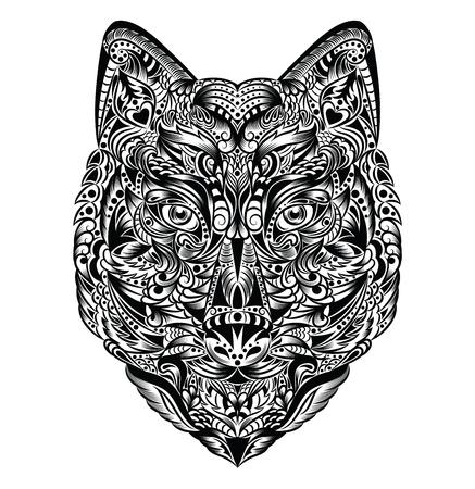 zeichnung: Muster in einer Form eines Wolfes auf dem weißen Hintergrund