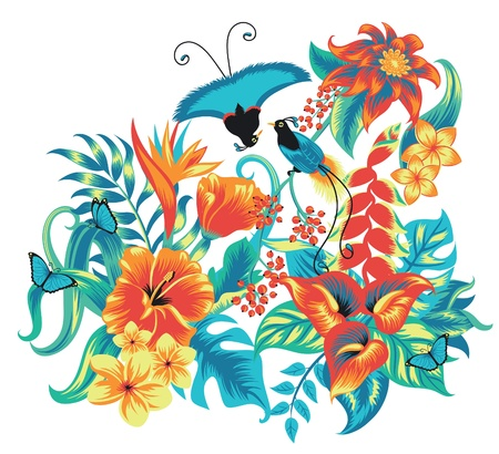 Tropical pattern with birds  Vector