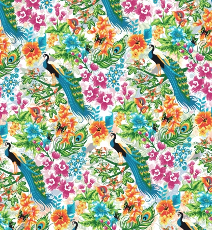 Seamless tropical pattern with peacocks and flowers  Vector