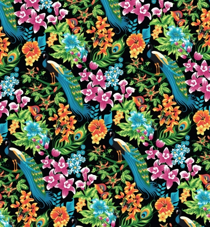 tropical climate: Seamless tropical pattern with peacocks and flowers