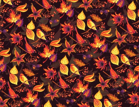Seamless autumn pattern with birds and leaves  Vector