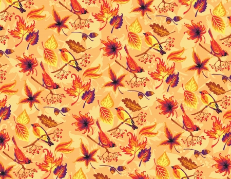 Seamless autumn pattern with birds and leaves Stock Vector - 21462225