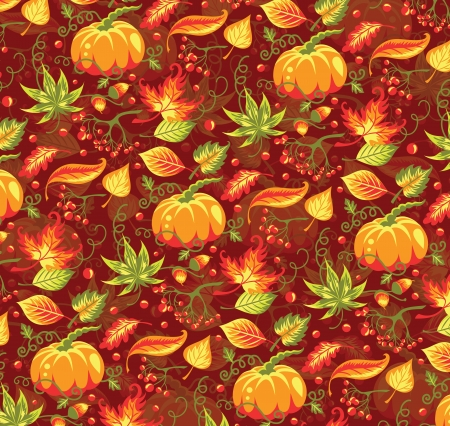 Seamless autumn pattern with pumpkin and leaves