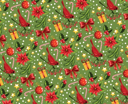 Seamless Christmas pattern on a green background  Vector