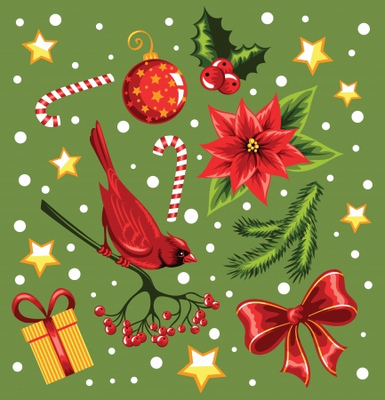 Set of a Christmas design elements  Vector
