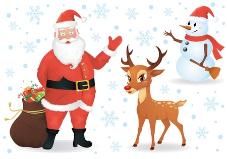 Santa, a deer and a snowman isolated on white  Vector