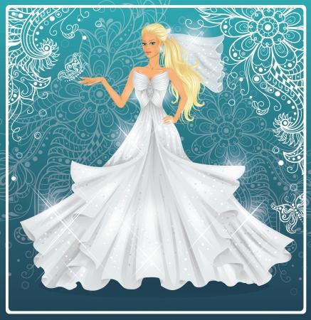 weisse kleider: Sch�ne Mode Braut auf einem blauen Hintergrund
