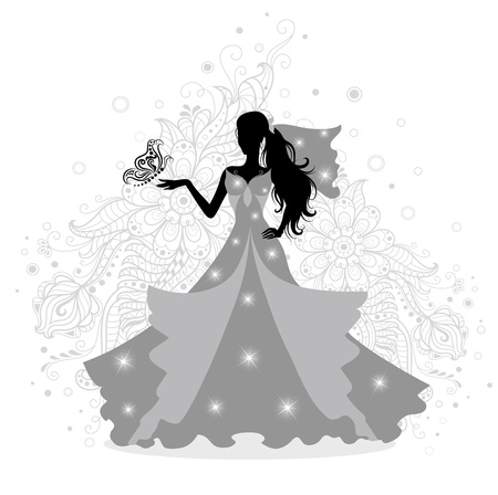 Silhouette of a beautiful fashion bride