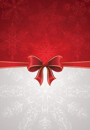 back lit: Tarjeta de felicitaci�n con arco rojo y copos de nieve adecuados para la Navidad Vectores