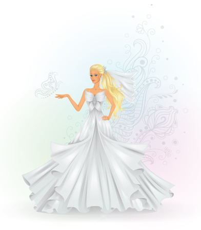Beautiful fashion bride with a pattern on the background
