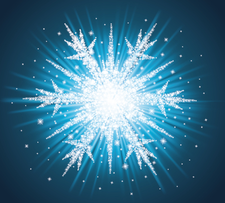 Sparkles in a shape of snowflake on the blue background  Ilustração