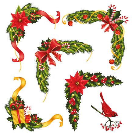 flor de pascua: Conjunto de esquinas de Navidad Vectores