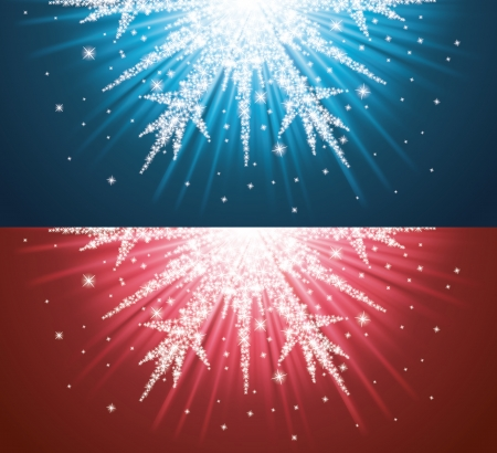 new year s: Sparkles in a shape of snowflake on the blue and red background
