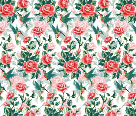 Seamless pattern with roses and hummingbird  Vector