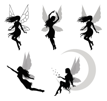 Collections of vector silhouettes of a fairy  Çizim