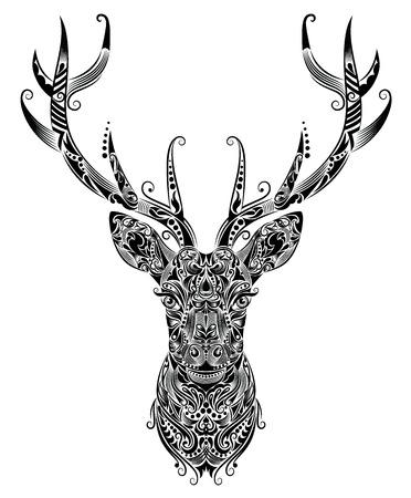 Pattern in a shape of a deer  向量圖像