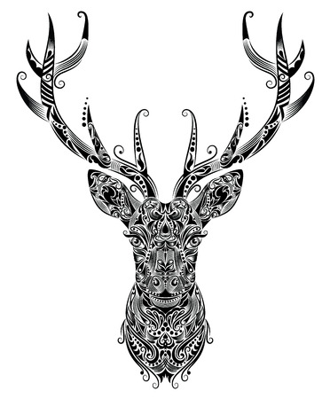 christmas tattoo: Pattern in a shape of a deer  Illustration