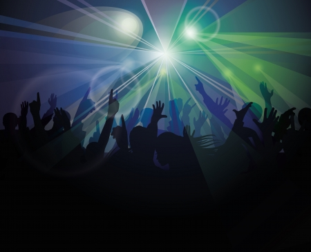 crowd cheering: People having fun at nightclub   Illustration