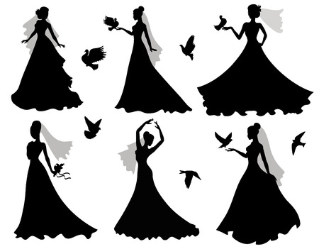 Set of silhouettes of brides with birds
